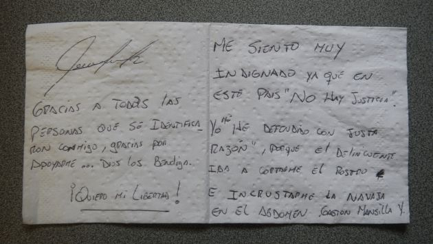 DEFENSA PERSONAL. Estudiante envió carta desde la cárcel. (Perú21)