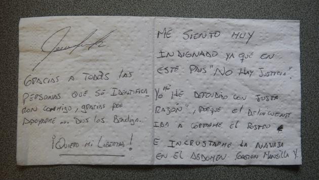 Estudiante envió carta desde la cárcel. (Perú21)