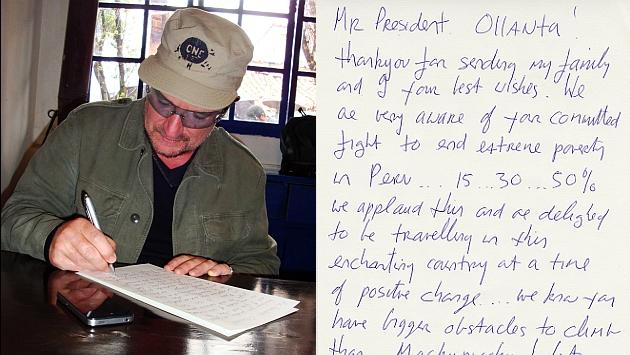 Bono redactando una carta de agradecimiento a Humala. (Perú21)
