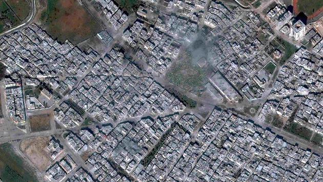 Imagen satelital del barrio sirio de Baba Amr. (Reuters)