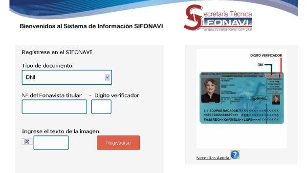 Web para la inscripción del Fonavi. (Internet)
