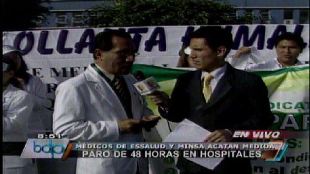 Plantón en el frontis del hospital Almenara. (Canal 5)