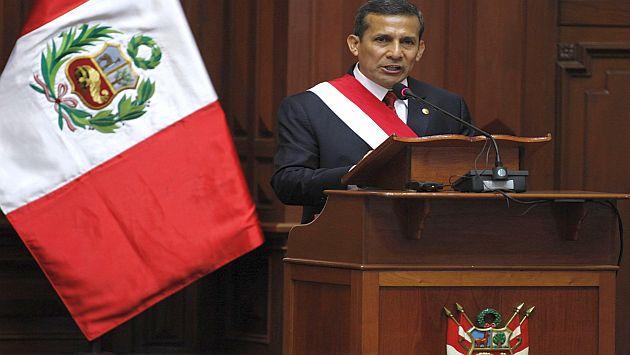 El mandatario en su discurso patrio en el Congreso. (Andina)