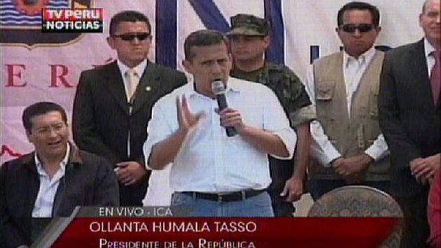 Discurso de Humala en Tambo de Mora. (TV Perú)
