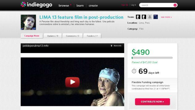 Captura: Indiegogo.com