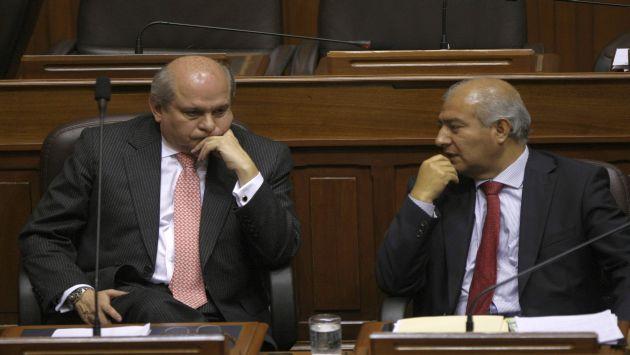Cateriano y Pedraza anoche en el Pleno del Congreso. (Perú21)