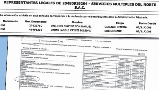 Registro de la Sunat de empresa de Wilson Vallejos, y de la OSCE que certifica buena pro para otro de sus negocios.