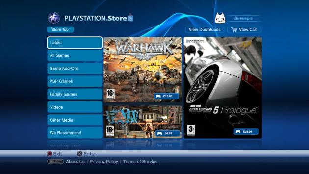 Captura de la página de inicio de la PS Store para Reino Unido.