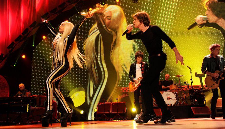 La polémica cantante Lady Gaga fue la invitada especial en el concierto de la legendaria banda los Rolling Stones. (Facebook)