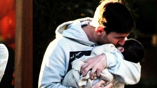 La primera foto de Messi con su primogénito. (Internet)