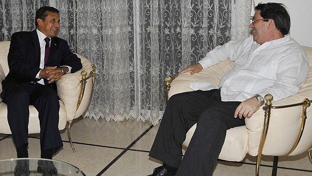 Humala se reunió también con el canciller cubano Bruno Rodríguez. (Andina)