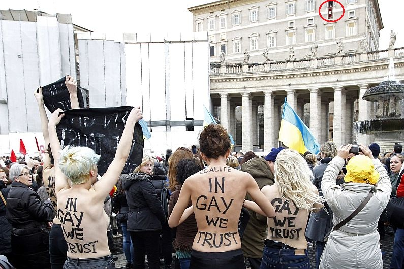 Italia, Gays, Vaticano, LGTB, FEMEN, Activistas, Plaza San Pedro, Comunidad homosexual