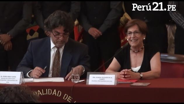 Declaraciones de la alcaldesa en el palacio edil. (Perú21)