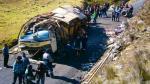 Mueren 14 tras caída de ómnibus a abismo - Noticias de miguel bustinza
