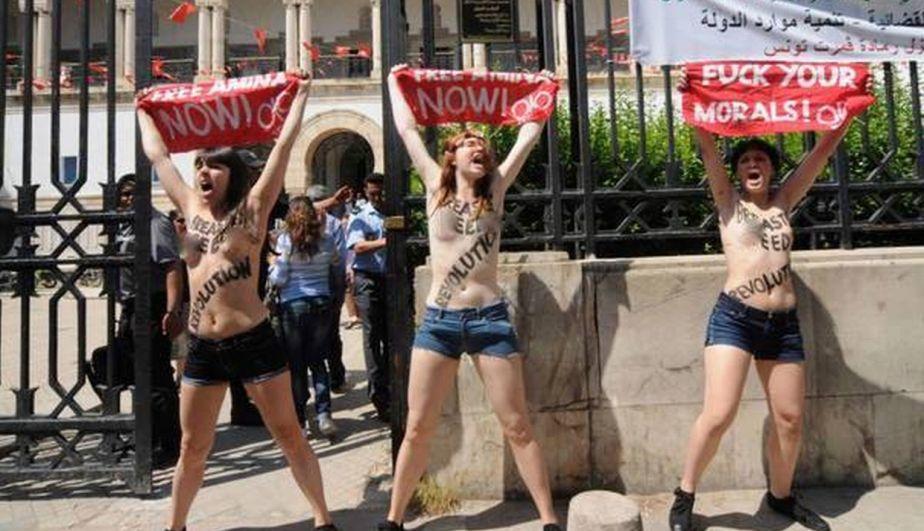 Femen, Túnez, Topless, Protestas Femen