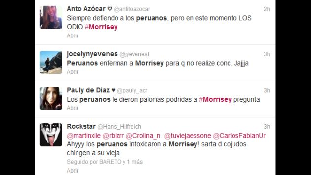 Chilenos mostraron su molestia por suspensión de concierto en su país. (Twitter)