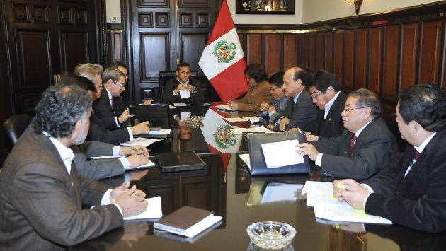 La reunión del presidente Ollanta Humala con los sindicatos fue en Palacio de Gobierno. (Andina)