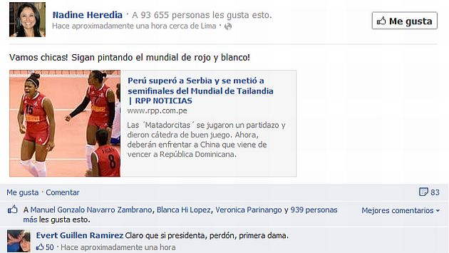 Nadine Heredia generó varias reacciones por su comentario. (Facebook)