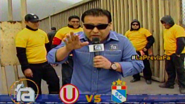Juan Carlos Orderique puso la nota alegre en la previa del U-Cristal. (Captura de TV)