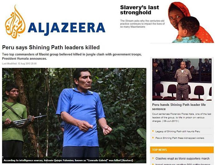Narcotráfico, Sendero Luminoso, El País, Folha de Sao Paulo, BBC Mundo, El Tiempo, Vraem, Prensa internacional, Aljazeera, Página12