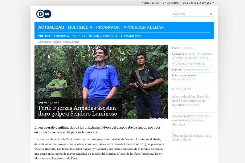 Narcotráfico, Sendero Luminoso, El País, BBC Mundo, El Tiempo, Vraem, Prensa internacional, Aljazeera, Página12, Deutsche Welle