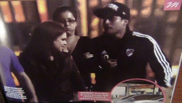 Karla Tarazona y Christian Domínguez estaban abrazados en San Miguel. (Revista Magaly)