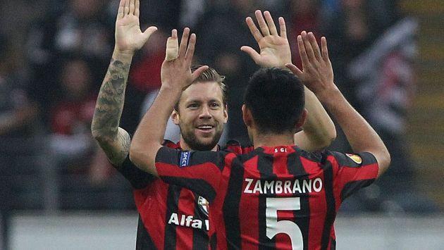 'LEÓN' FELIZ. Zambrano celebra la victoria de su equipo. (AFP)