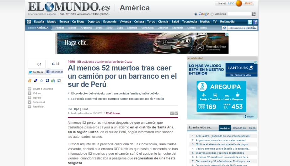 El diario El Mundo de España informó de la tragedia ocurrida en el Cusco.
