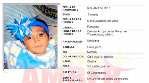 Autoridades activaron la 'Alerta Amber', para dar con el paradero de la bebé. (Internet)