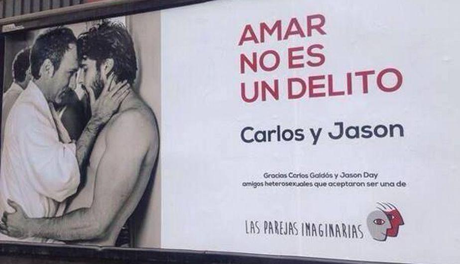 """Carlos Galdós y Jason Day forman parte de una campaña contra la homofobia. """"Amar no es un delito"""", es la frase que se lee en los afiches. (Twitter)"""