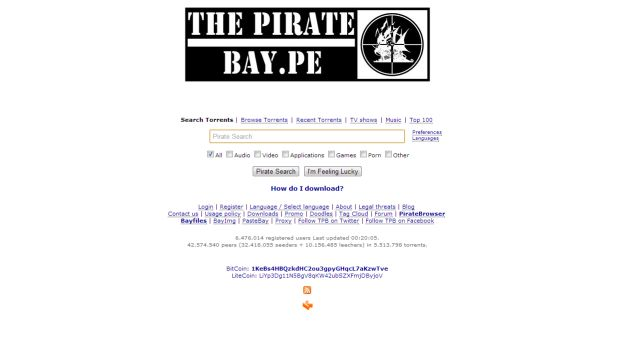 The Pirate Bay ahora tiene dominio .pe. (thepiratebay.pe)