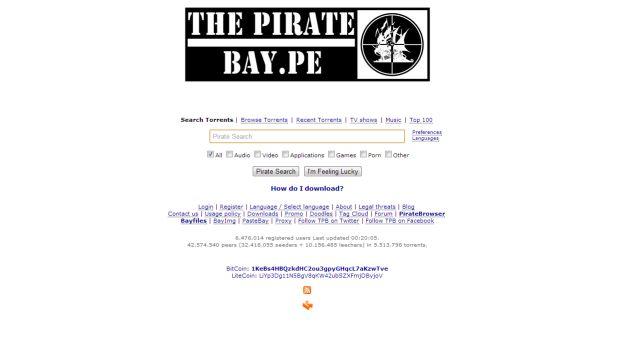 The Pirate Bay tenía dominio peruano. (thepiratebay.pe)