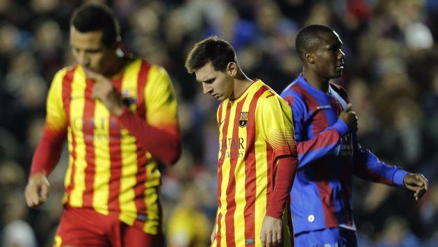 Barcelona empató con Levante y puso en riesgo la punta de la Liga española. (AFP)