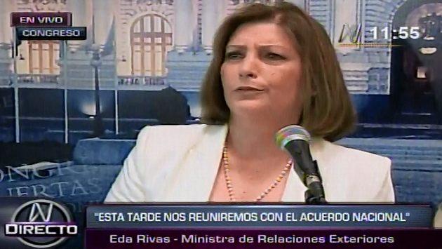 Eda Rivas habló con la prensa tras reunión.  (Canal N)