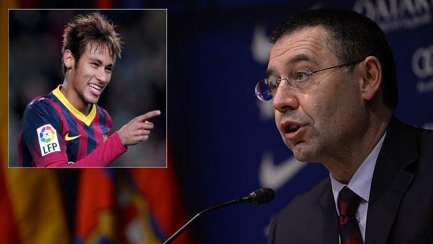 Incorporación de Neymar al Barcelona costó 86,2 mllns de euros, detalla el nuevo presidente culé Josep Bartomeu. (AFP)