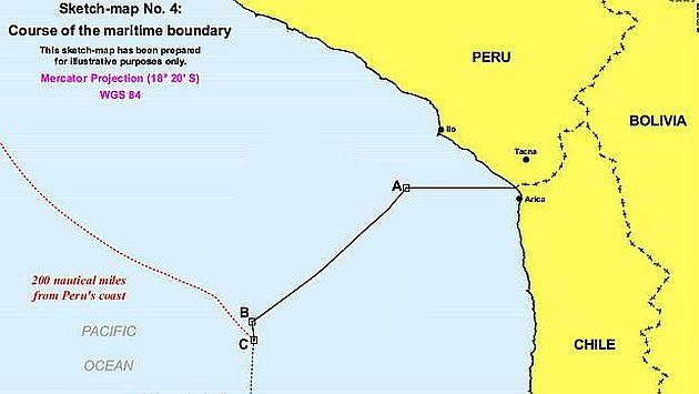 Mapa que elaboró la Corte de La Haya sobre la frontera marítima. (Andina)