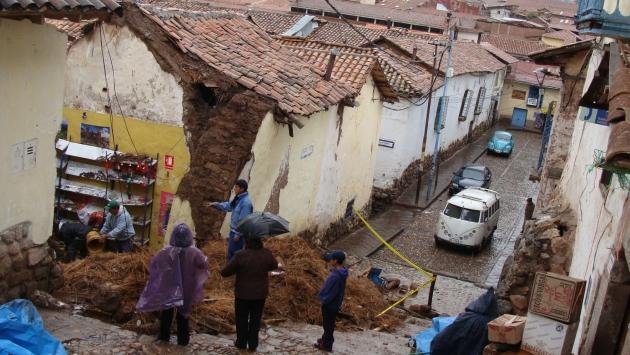 Dos casas cayeron en Junín. (Andina)