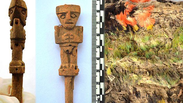 Santuario de Pachacamac: Hallan escultura de mujer y paño con plumas. (Ministerio de Cultura)