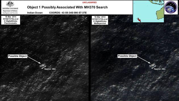 Imagen satelital del objeto más grande de los detectados por Australia. (AP)