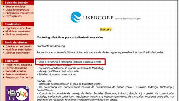 Agencia de publicidad Usercorp difunde aviso que discrimina a transexuales. (Perú21)