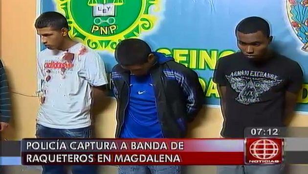 Policía desarticuló a una banda de 'raqueteros' en Magdalena. (Captura de TV)