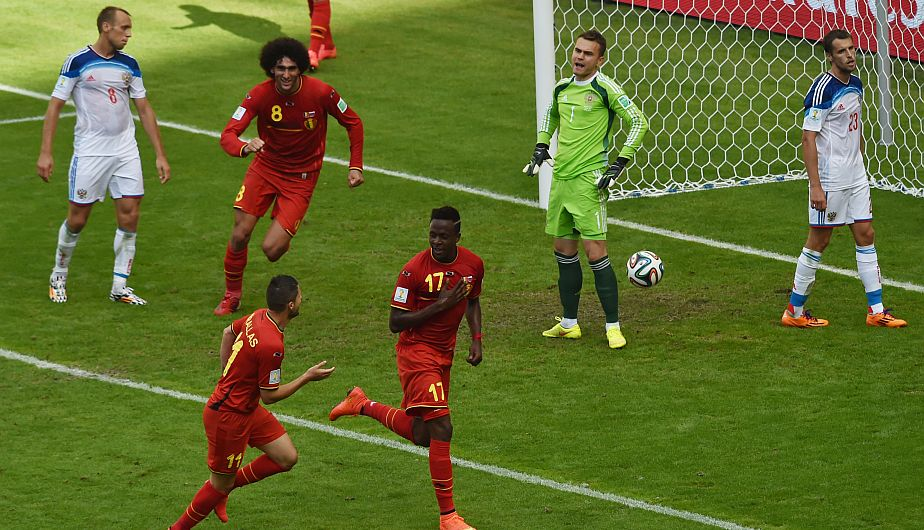 Divock Origi celebrando su gol ante Rusia. (AFP)