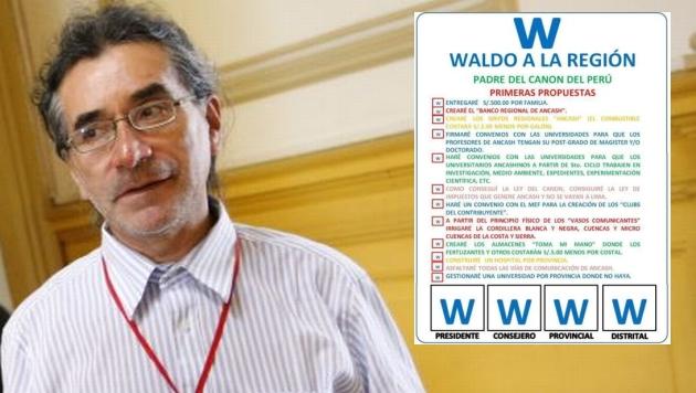 Waldo Ríos, candidato a la presidencia regional de Áncash ofreció regalar S/.500 a cada poblador si gana las elecciones. (USI)