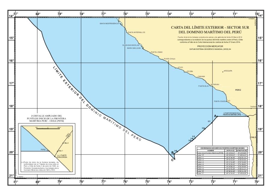 Nuevo mapa de límites con Chile del Perú