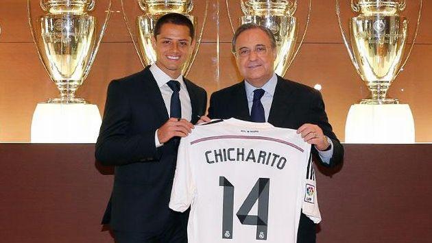 'Chicharito' Hernández luce su camiseta con el número 14. (Real Madrid)