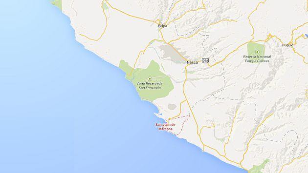 Sismo se registro en San Juan de Marcona, en Ica. (Google Maps)