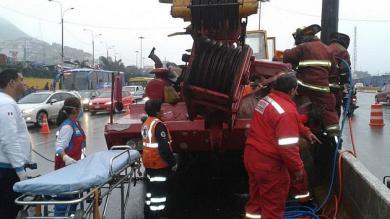 Accidentes de tránsito, Vía de Evitamiento, Puente Balta, Acho, Grúa telescópica
