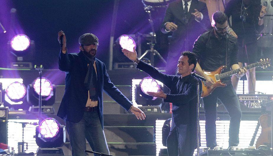 Juan Luis Guerra y Marc Anthony iniciaron la gira Gigantes 2 en Lima. (Nancy Dueñas/Perú21)