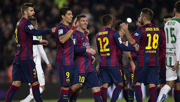 Barcelona ganó 5-0 al Córdoba con doblete de Messi y gol de Luis Suárez