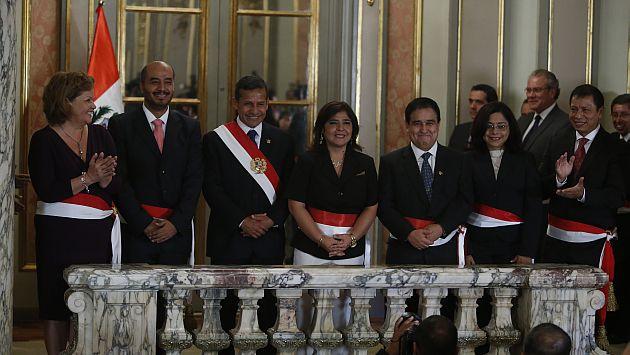 Ollanta Humala tomó juramento a cinco nuevos ministros. (Mario Zapata)